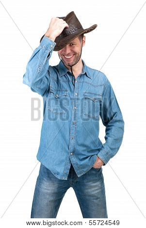 Portrait Of Man With Cowboy Hat Isolated On A White Background