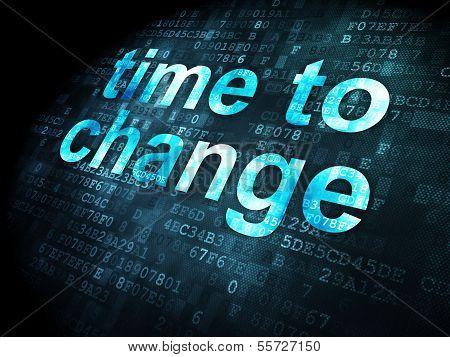 Timeline concept: pixelated words Time to Change on digital background, 3d render poster