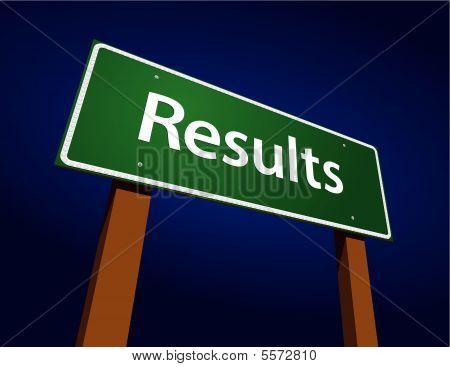 Results Green Road Sign Illustration