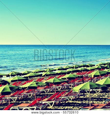 picture of Playa del Ingles beach in Gran Canaria, Canary Islands, Spain, with a retro effect