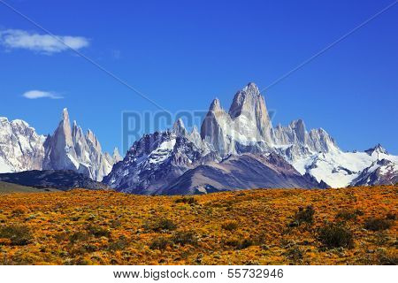 The magnificent mountain range - Mount Fitzroy in Patagonia, Argentina. Summer sunny noon