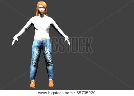 human figure in jeans, with space for text
