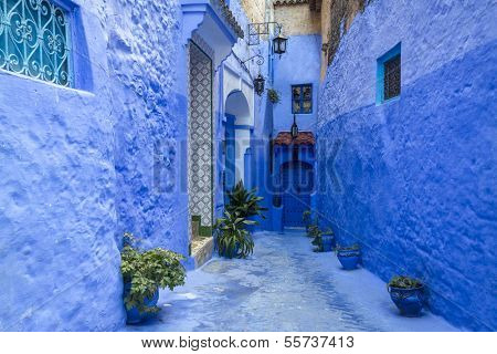 Traditional moroccan architectural details in Chefchaouen, Morocco, Africa  poster