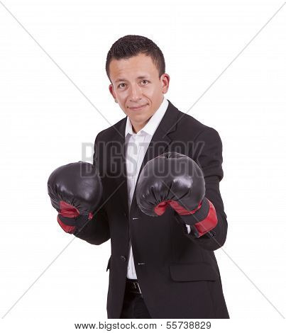 Young mixed race businessman with boxing gloves