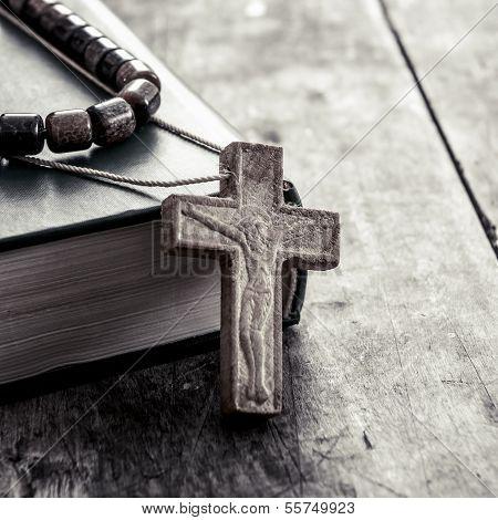 Cross On A Wooden Surface Closeup