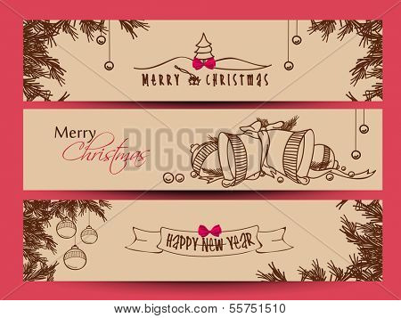 Website header or banner set design for Happy New Year 2014 and Merry Christmas with jingle bells, xmas balls on fir trees decorated brown background.
