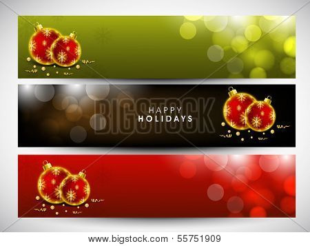 Website header or banner set design for Merry Christmas celebration with shiny red Xmas balls on green, brown and red background.  poster