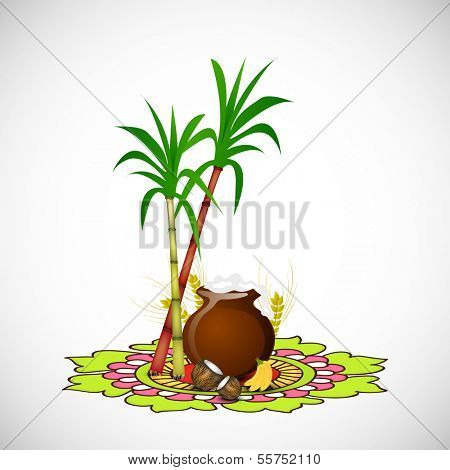 Happy Pongal, harvest festival celebration in South India with pongal rice in a traditional mud pot and sugarcane on beautiful floral design called rangoli. poster