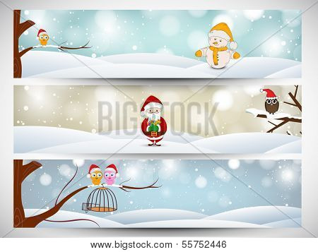 Website header or banner set design for Happy New Year 2014 celebration with snowman, santa claus and love birds on abstract background.  poster