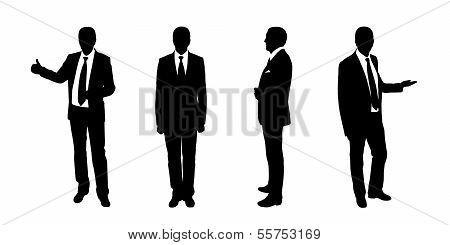 Businessman Standing Silhouettes Set 1