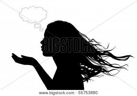 Woman Sending A Flowing Kiss