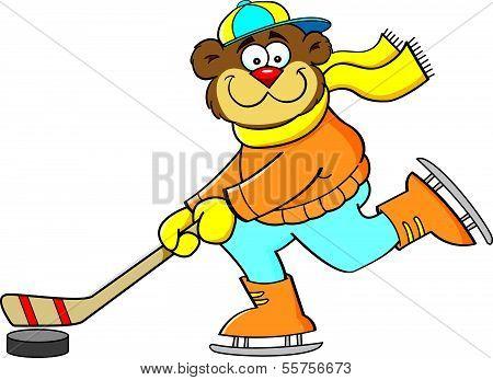 Cartoon illustration of a bear playing hockey. poster