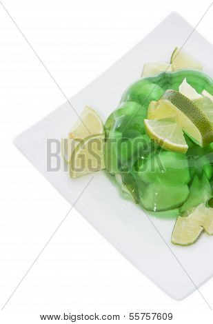 Lime Jello Isolated On White