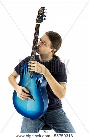 Guitarist Kissing His E-guitar (series With The Same Model Available)