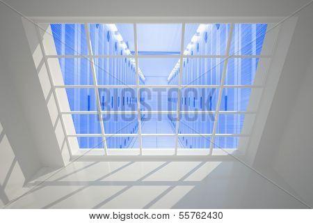 Server hallway seen through window poster