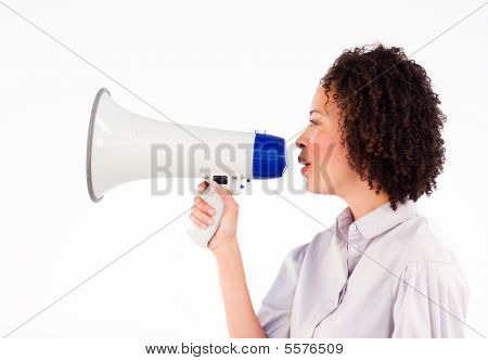 Businesswoman Shoutng Through Megaphone