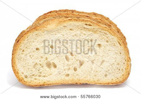 some slices of pan de payes, a round bread typical of Catalonia, Spain, on a white background poster