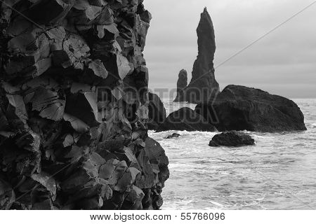 Iceland. South Area. Vik. Reynisdrangur Basaltic Rocks And Pinacles.