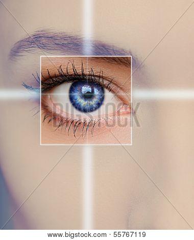 Macro Bright Blue Eye Of Beautiful Woman. Closeup Portrait