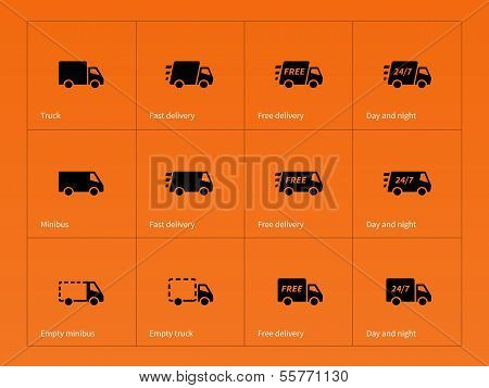 Delivery Trucks icons on orange background.
