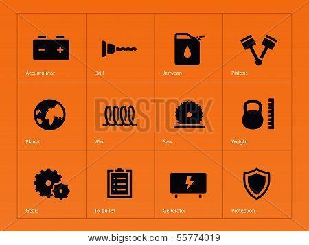 Tools icons on orange background.