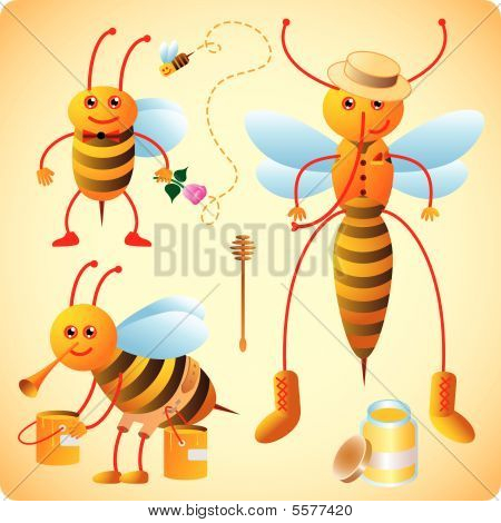Three happy bees