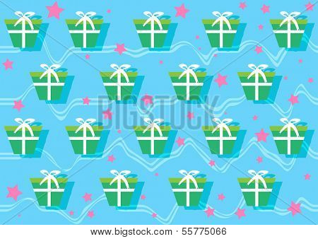 Gift box pattern with star