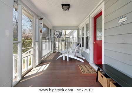 Porch With Red Door