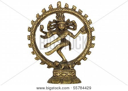 Figurine of Lord Shiva Nataraja dancing, isolated on white background poster