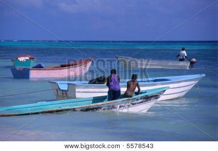 Colored Boats -saona Island - Dominican Republic