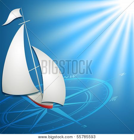 Sailfish with compass in the blue ocean vector format poster