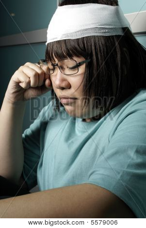 Injured and miserable teen girl unhappy portrait