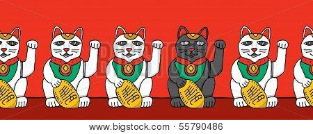Black Cat Among White Fortune Cats