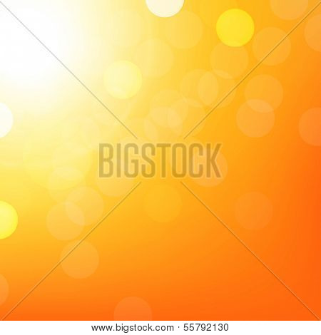 Orange Background With Bokeh, With Gradient Mesh, Vector Illustration