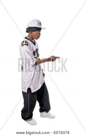 Cool young hip-hop dancer making a move poster