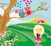 owls in love on spring scenery , vector illustration poster