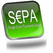 green SEPA - single euro payments area - button poster
