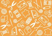 Orange background with objects of sewing and needlework poster