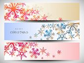 Website header or banner set design for Merry Christmas celebration with shiny colorful snowflakes on abstract background.  poster