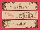Website header or banner set design for Happy New Year 2014 and Merry Christmas with jingle bells, xmas balls on fir trees decorated brown background.  poster