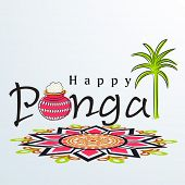 Happy Pongal, harvest festival celebration in South India with pongal rice in a traditional mud pot, sugarcane and beautiful floral design called rangoli.  poster