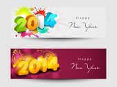Website header or banner set design for Happy New Year 2014 celebration with shiny colorful text.  poster