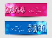 Website header or banner set design for Happy New Year 2014 celebration with stylish text on pink and blue background.  poster