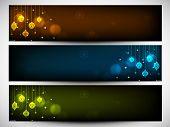 Website header or banner set design for Happy New Year 2014 celebration shiny Xmas balls,  poster