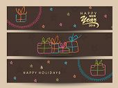 Website header or banner set design for Happy New Year 2014 celebration with colorful colorful gift box on brown background.  poster