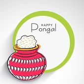 Happy Pongal, harvest festival celebration in South India with pongal rice in a traditional mud pot and space for your text.   poster