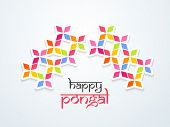 Beautiful Happy Pongal, harvest festival celebration in South India background with colorful floral design, can be use as flyer, poster or banner.  poster