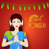 Beautiful girl in traditional outfits saree folded hands representing India culture greeting namaste on occasion of harvest festival celebration in South India, Happy Pongal. poster