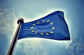 European Union flag on blue sky background poster