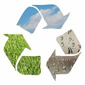 Recycle sign made with grass clouds and water droplets on white background poster